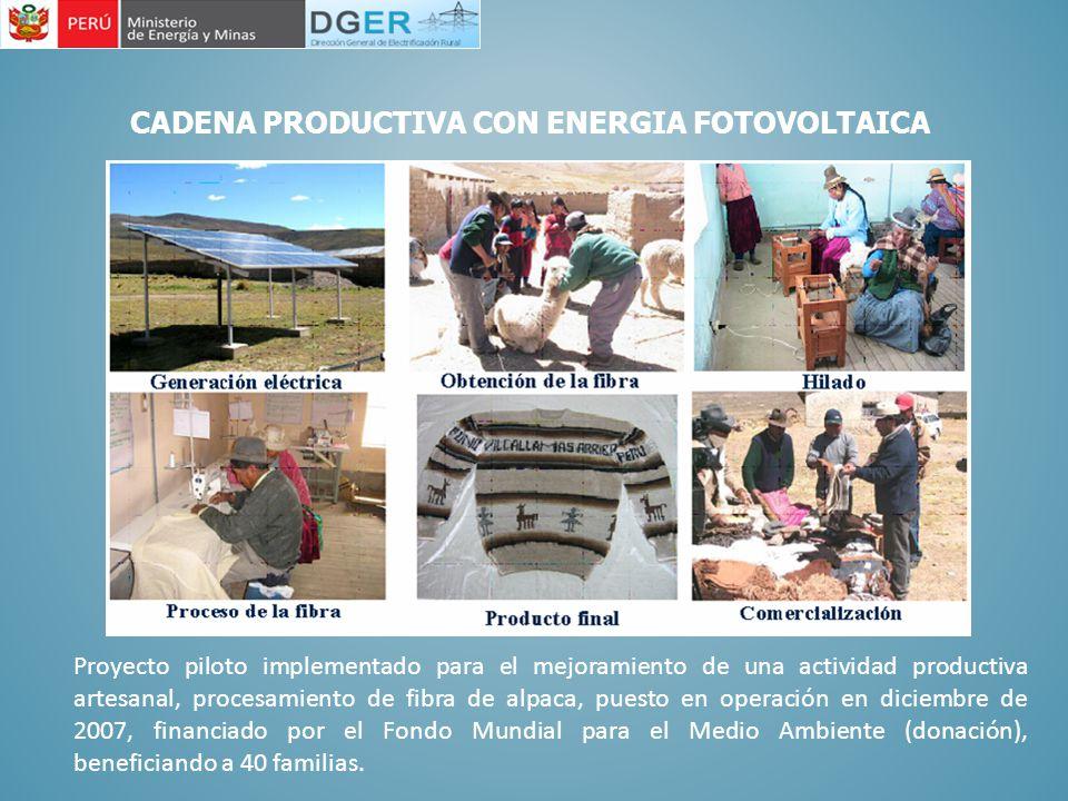 Proyecto piloto implementado para el mejoramiento de una actividad productiva artesanal, procesamiento de fibra de alpaca, puesto en operación en dici