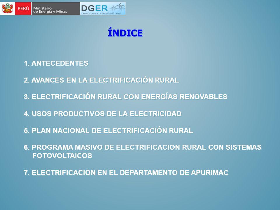 ÍNDICE 1. ANTECEDENTES 2. AVANCES EN LA ELECTRIFICACIÓN RURAL 3. ELECTRIFICACIÓN RURAL CON ENERGÍAS RENOVABLES 4. USOS PRODUCTIVOS DE LA ELECTRICIDAD