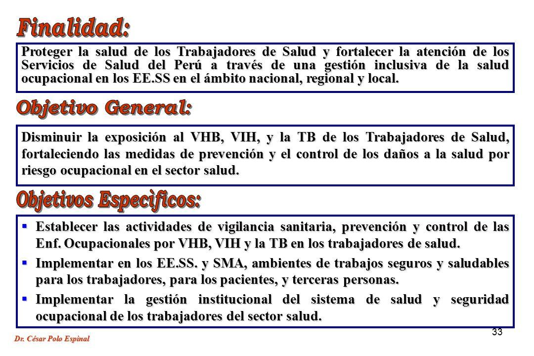 33 Establecer las actividades de vigilancia sanitaria, prevención y control de las Enf.