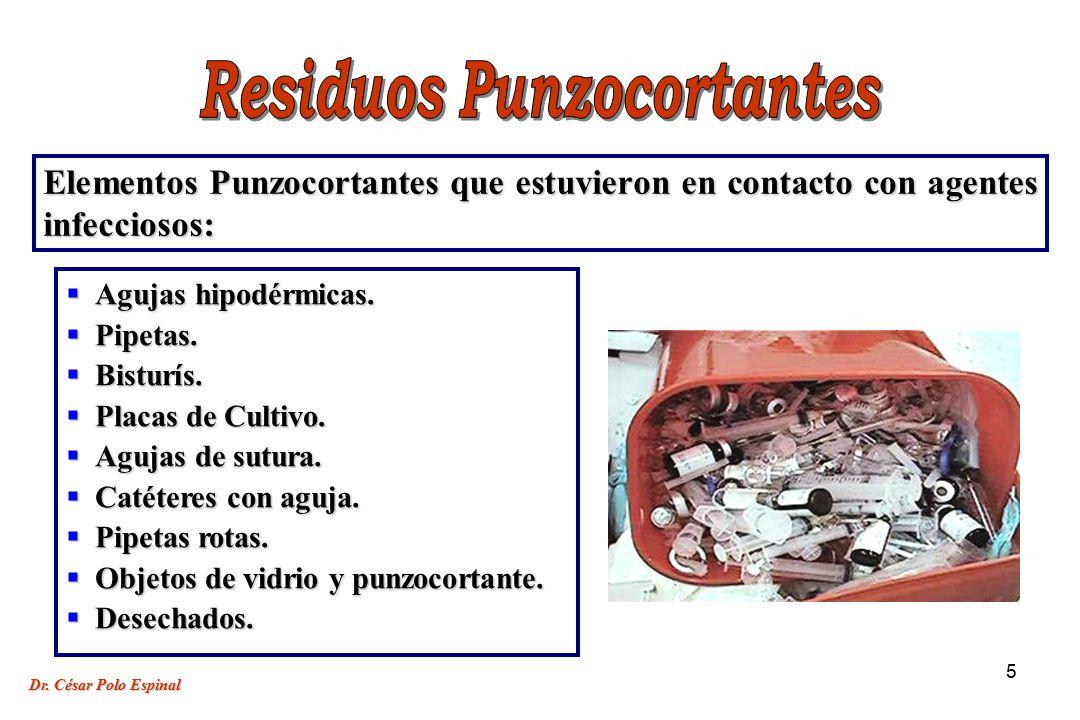 5 Elementos Punzocortantes que estuvieron en contacto con agentes infecciosos: Agujas hipodérmicas.