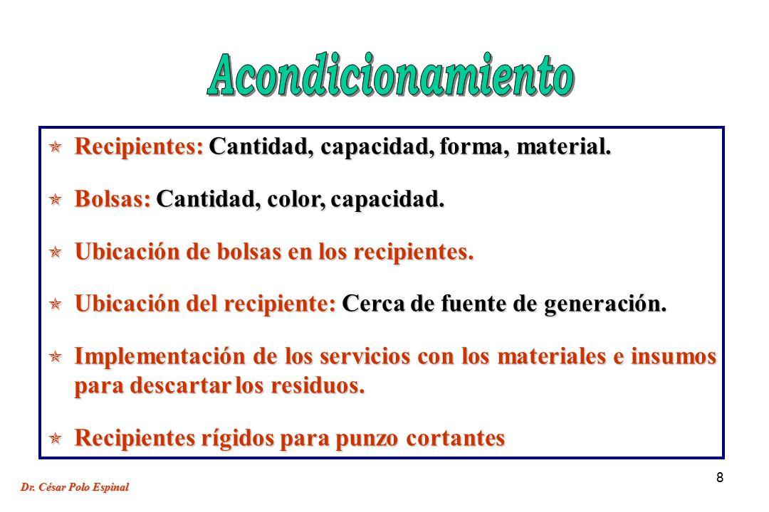 8 Recipientes: Cantidad, capacidad, forma, material.