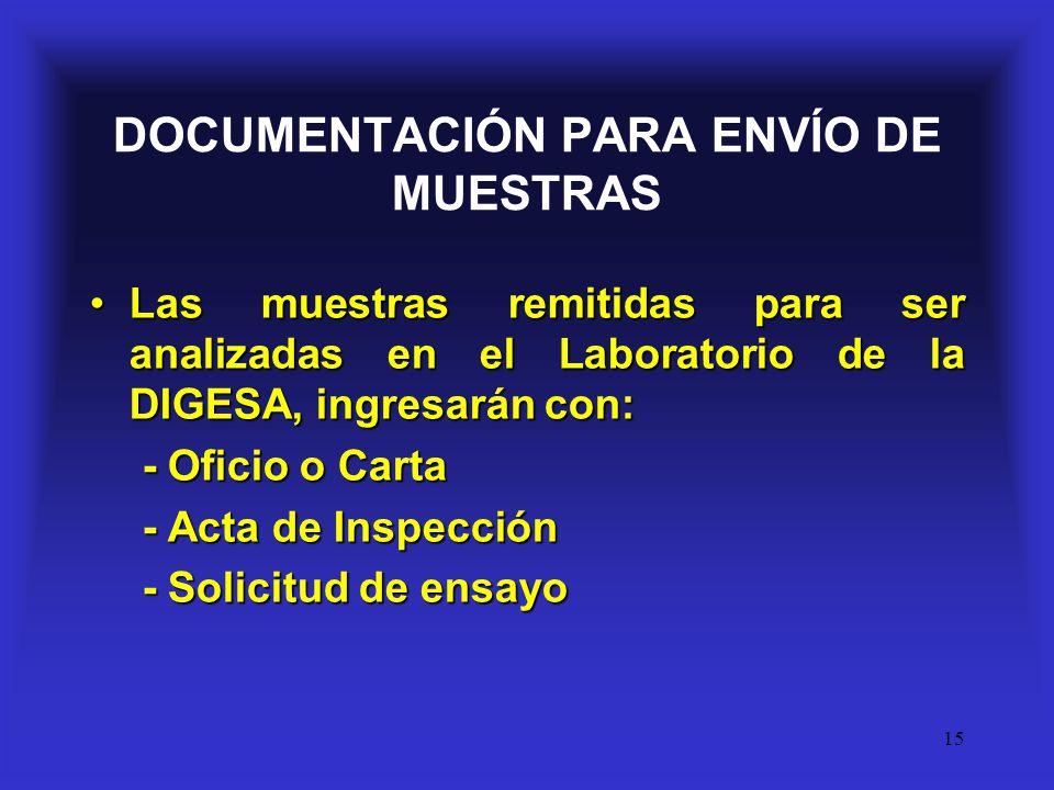 15 DOCUMENTACIÓN PARA ENVÍO DE MUESTRAS Las muestras remitidas para ser analizadas en el Laboratorio de la DIGESA, ingresarán con:Las muestras remitid