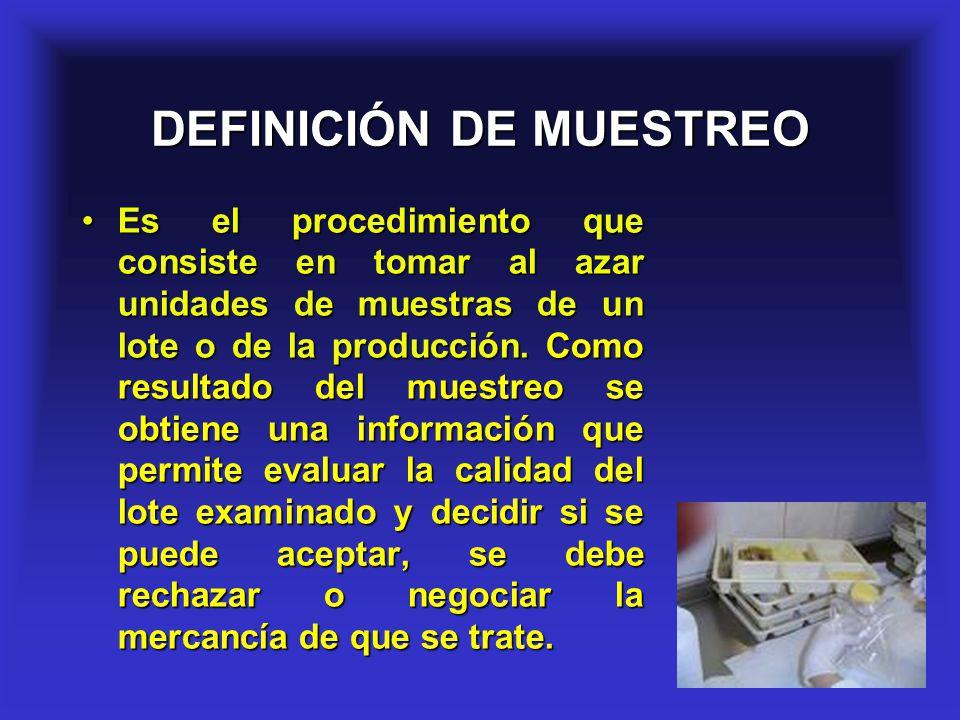 2 DEFINICIÓN DE MUESTREO Es el procedimiento que consiste en tomar al azar unidades de muestras de un lote o de la producción. Como resultado del mues
