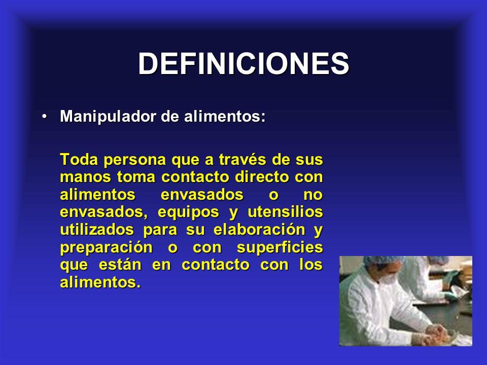 23 DEFINICIONES Manipulador de alimentos:Manipulador de alimentos: Toda persona que a través de sus manos toma contacto directo con alimentos envasado