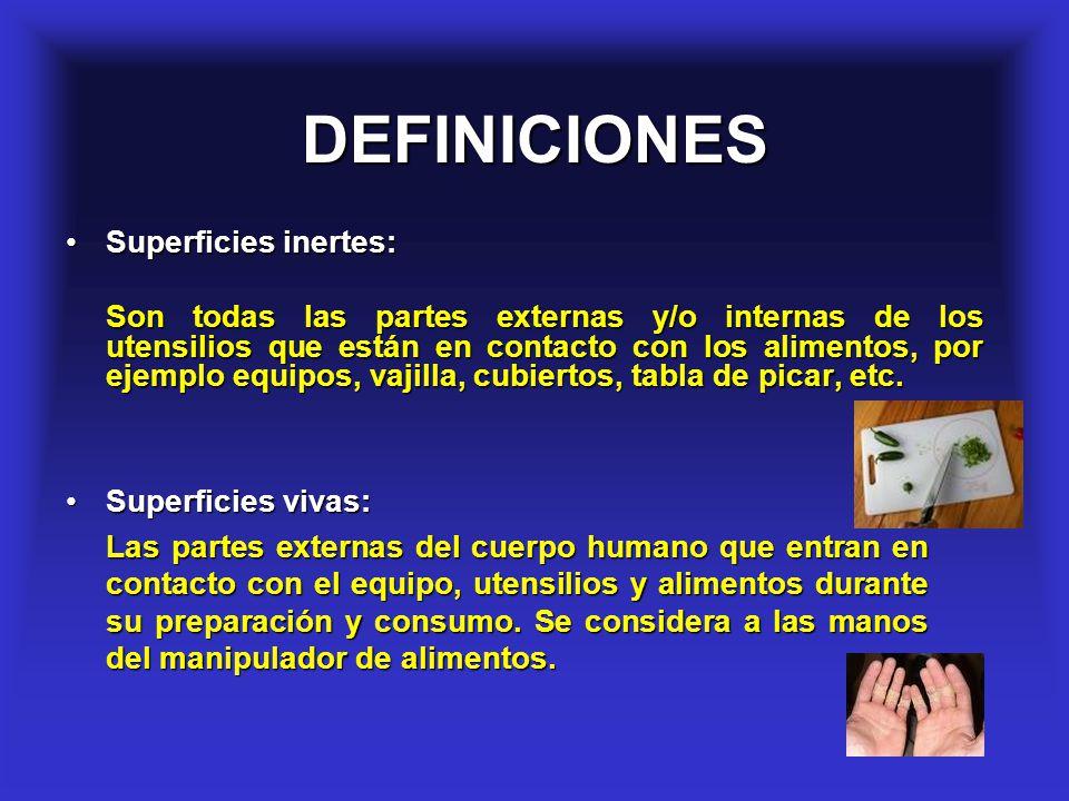 24 DEFINICIONES Superficies vivas:Superficies vivas: Las partes externas del cuerpo humano que entran en contacto con el equipo, utensilios y alimento