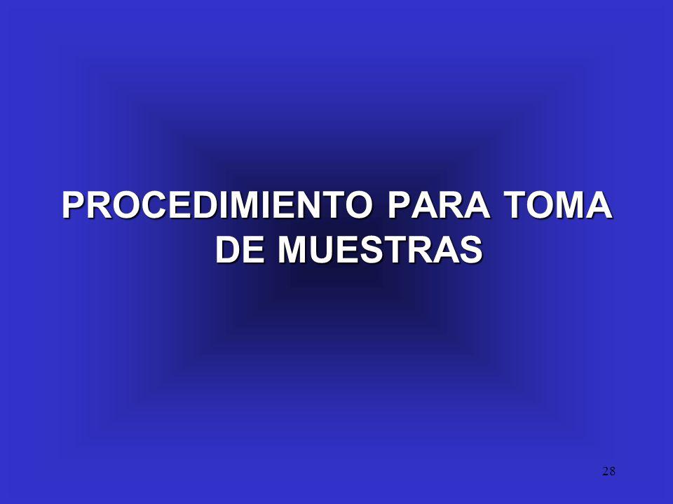 28 PROCEDIMIENTO PARA TOMA DE MUESTRAS
