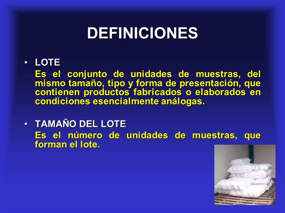 4 DEFINICIONES LOTELOTE Es el conjunto de unidades de muestras, del mismo tamaño, tipo y forma de presentación, que contienen productos fabricados o e