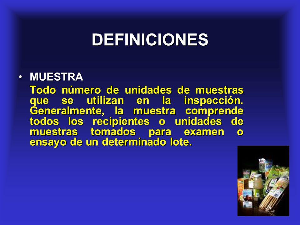 6 CARACTERISTICAS DE LA MUESTRA La muestra debe ser representativa del lote.La muestra debe ser representativa del lote.