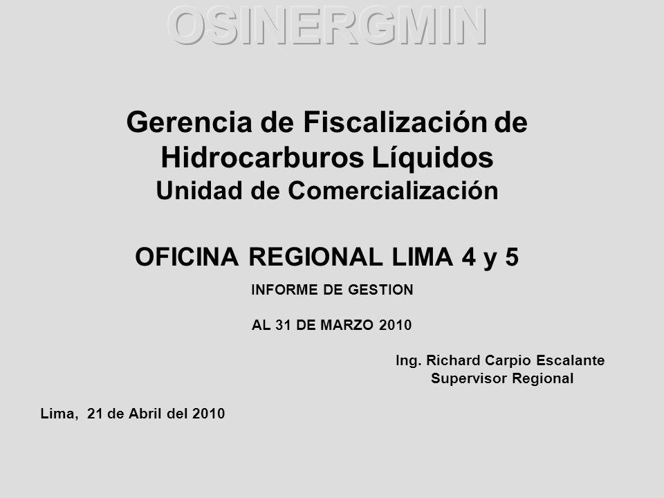 INFORME DE GESTION AL 31 DE MARZO 2010 Ing. Richard Carpio Escalante Supervisor Regional Lima, 21 de Abril del 2010