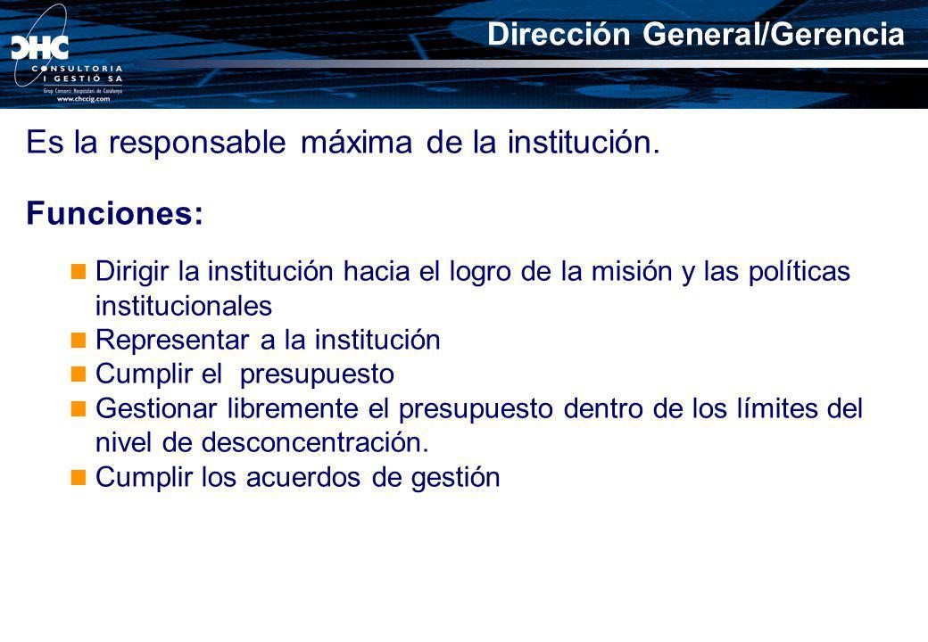 Es la responsable máxima de la institución. Funciones: Dirigir la institución hacia el logro de la misión y las políticas institucionales Representar