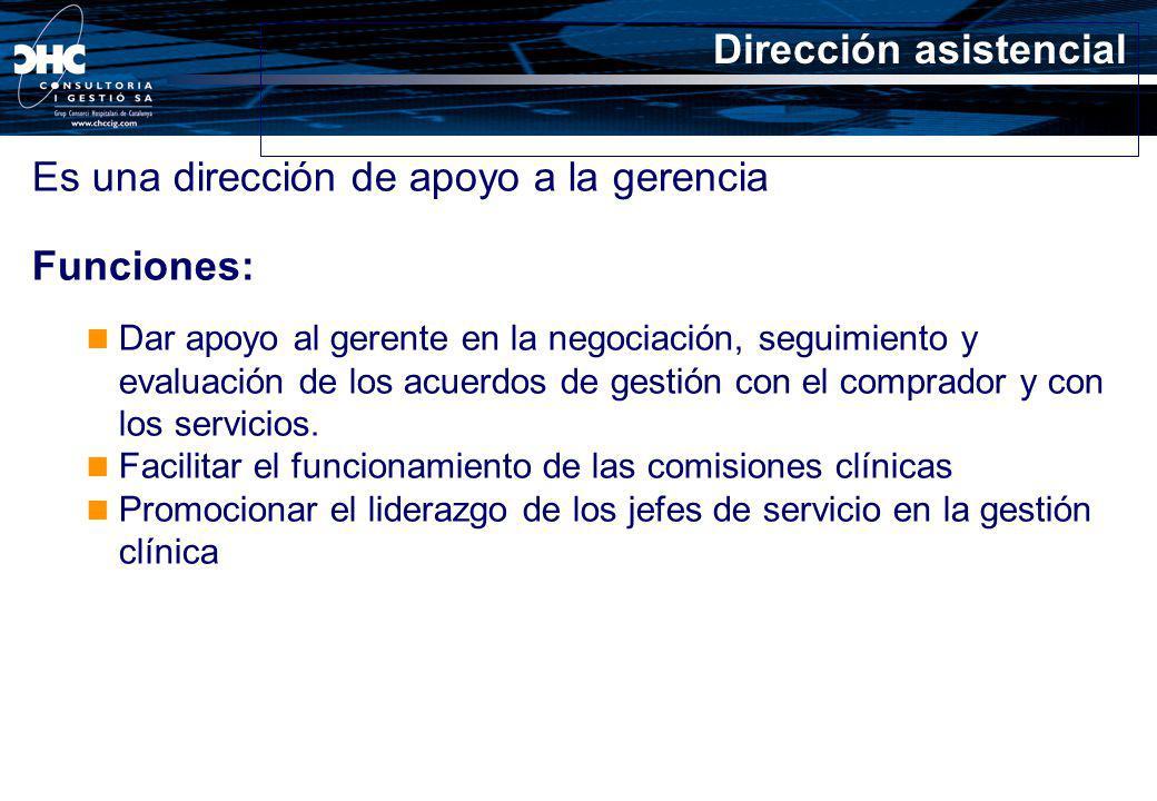 Dirección asistencial Es una dirección de apoyo a la gerencia Funciones: Dar apoyo al gerente en la negociación, seguimiento y evaluación de los acuer