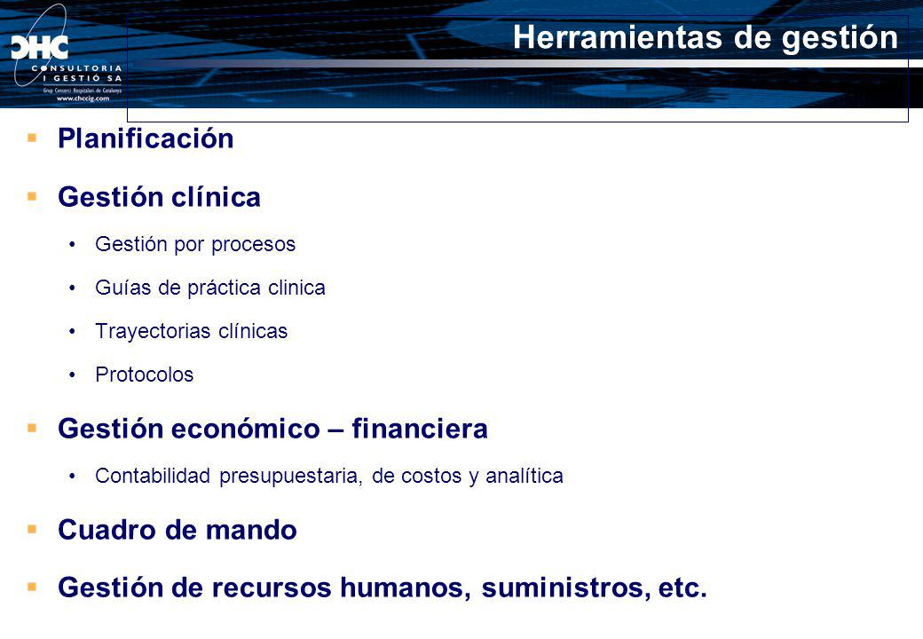 Planificación Gestión clínica Gestión por procesos Guías de práctica clinica Trayectorias clínicas Protocolos Gestión económico – financiera Contabili