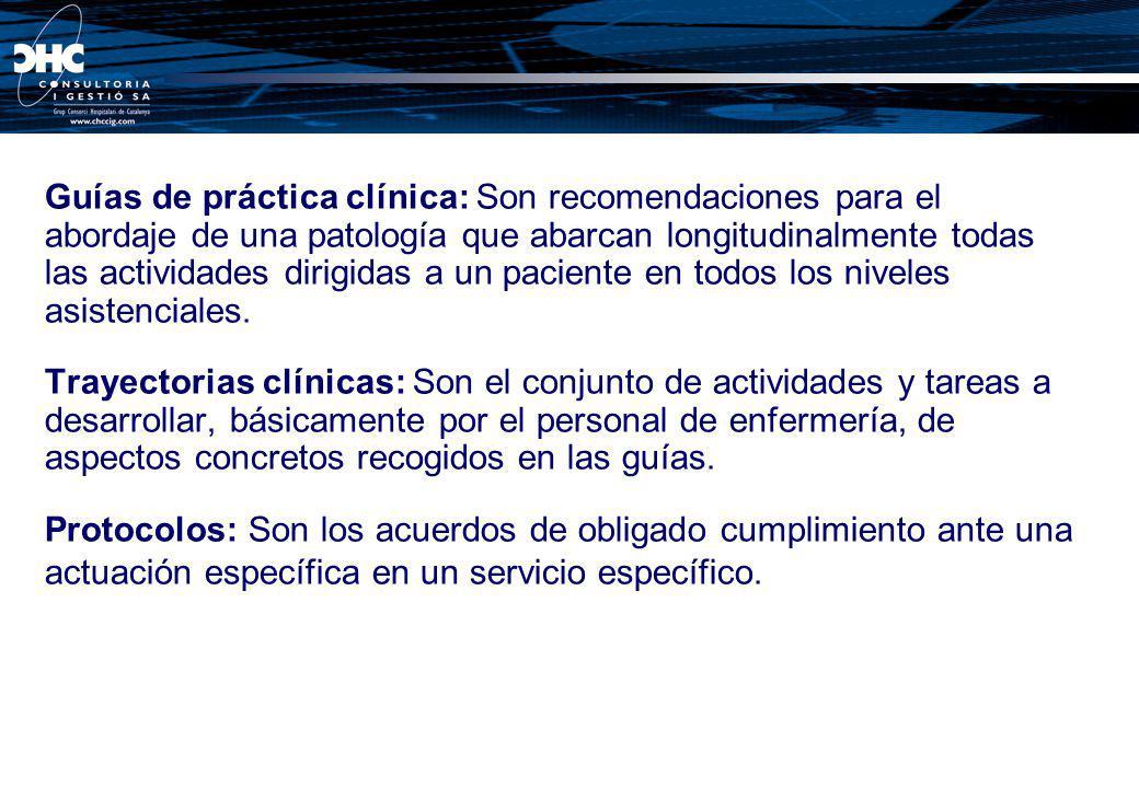 Guías de práctica clínica: Son recomendaciones para el abordaje de una patología que abarcan longitudinalmente todas las actividades dirigidas a un pa