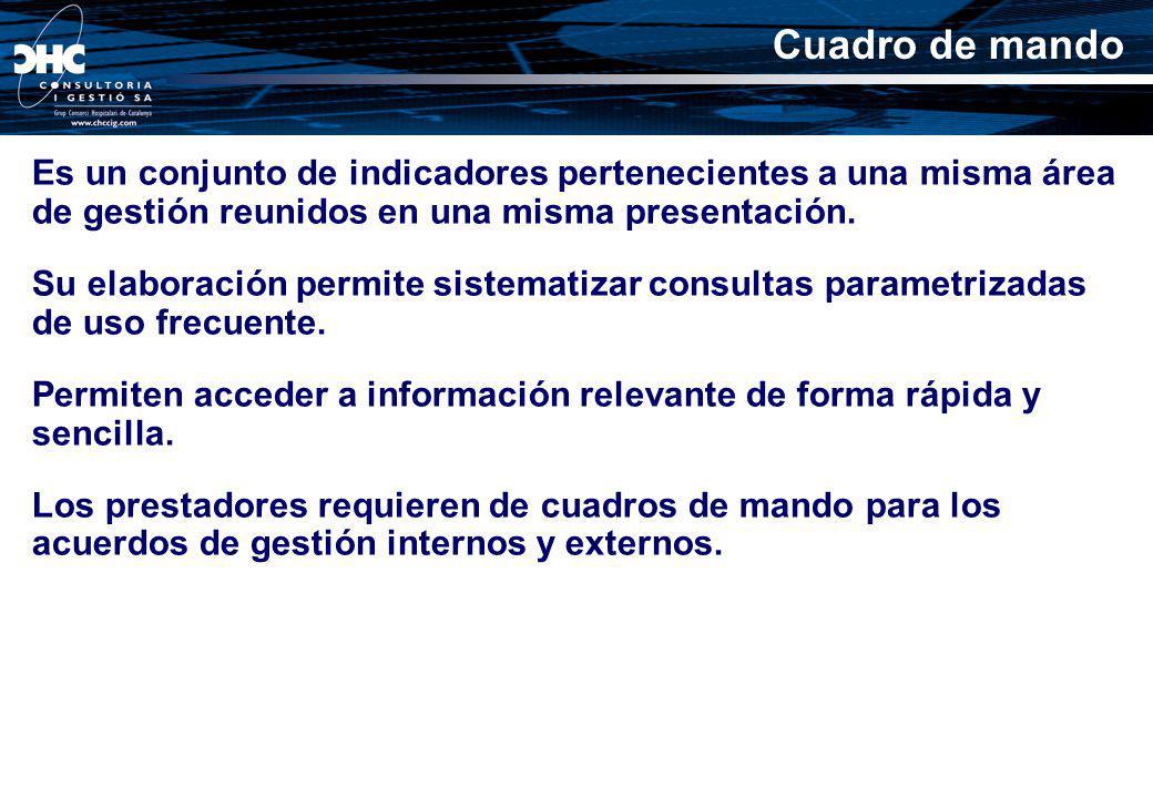 Cuadro de mando Es un conjunto de indicadores pertenecientes a una misma área de gestión reunidos en una misma presentación. Su elaboración permite si