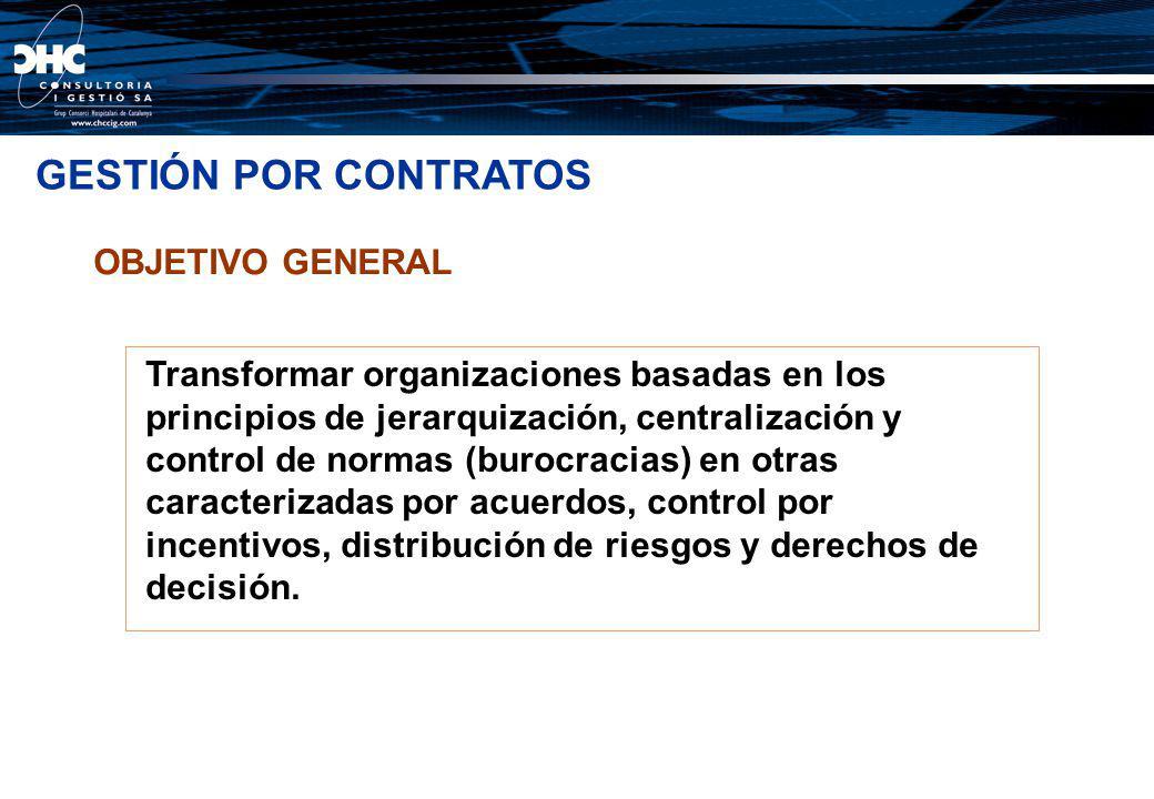 OBJETIVO GENERAL Transformar organizaciones basadas en los principios de jerarquización, centralización y control de normas (burocracias) en otras car