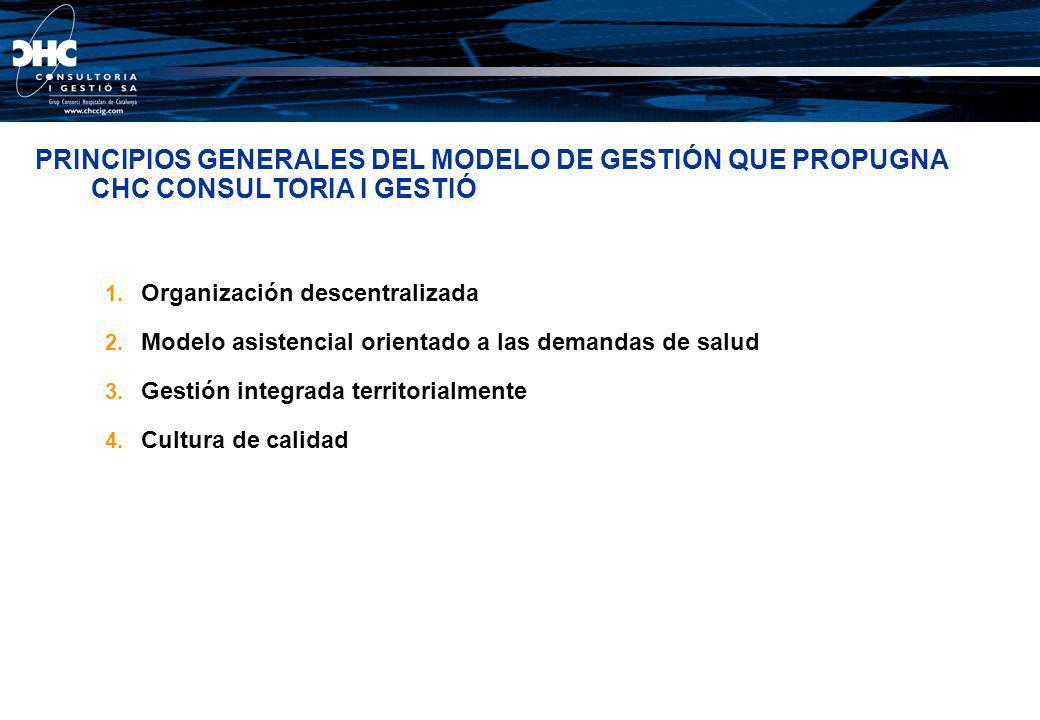 PRINCIPIOS GENERALES DEL MODELO DE GESTIÓN QUE PROPUGNA CHC CONSULTORIA I GESTIÓ 1. Organización descentralizada 2. Modelo asistencial orientado a las