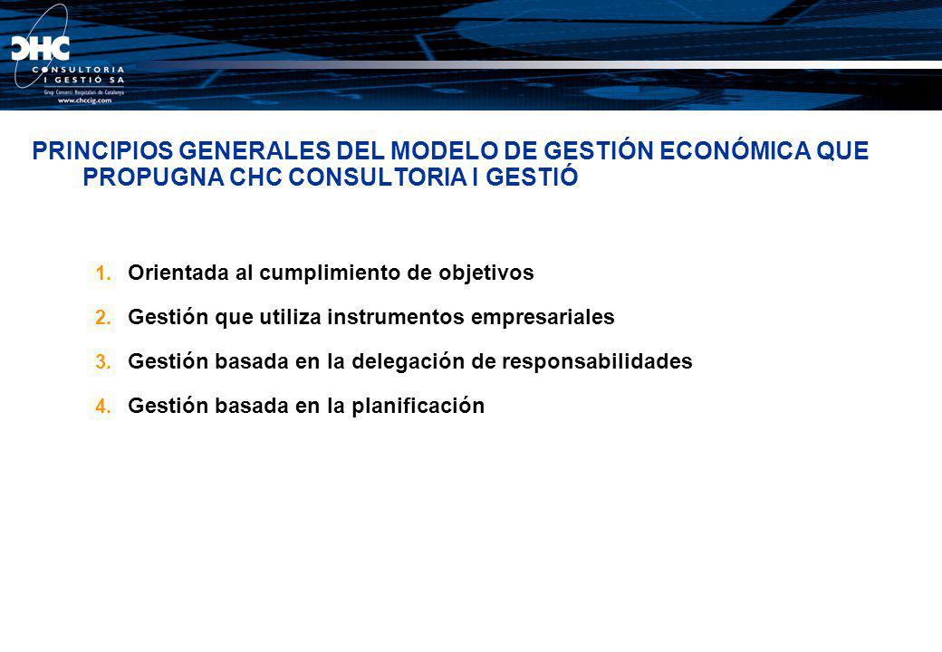 PRINCIPIOS GENERALES DEL MODELO DE GESTIÓN ECONÓMICA QUE PROPUGNA CHC CONSULTORIA I GESTIÓ 1. Orientada al cumplimiento de objetivos 2. Gestión que ut