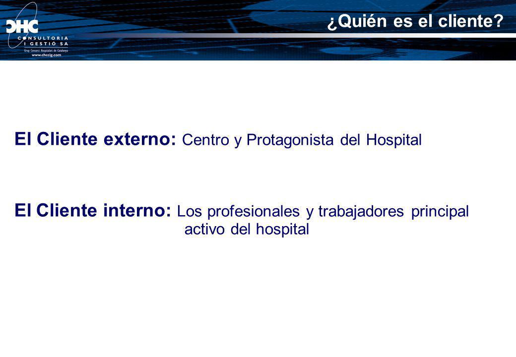 El Cliente externo: Centro y Protagonista del Hospital El Cliente interno: Los profesionales y trabajadores principal activo del hospital ¿Quién es el