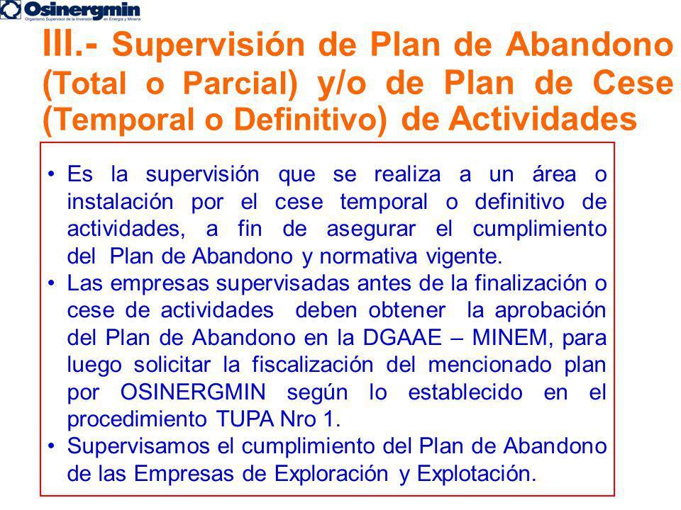 Es la supervisión que se realiza a un área o instalación por el cese temporal o definitivo de actividades, a fin de asegurar el cumplimiento del Plan
