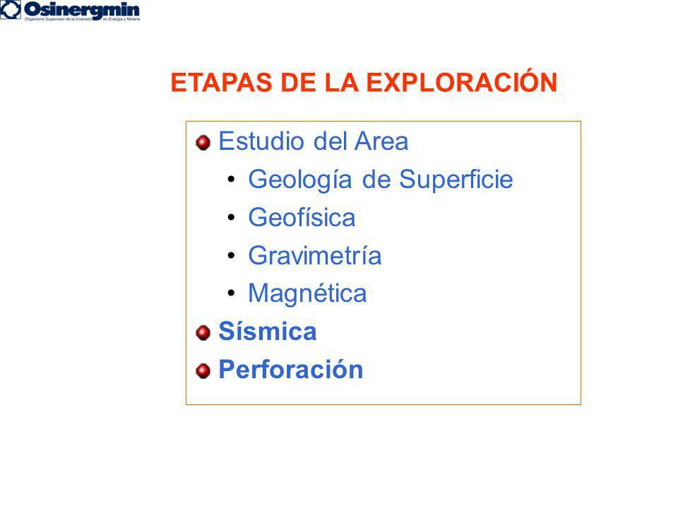 ETAPAS DE LA EXPLORACIÓN Estudio del Area Geología de Superficie Geofísica Gravimetría Magnética Sísmica Perforación