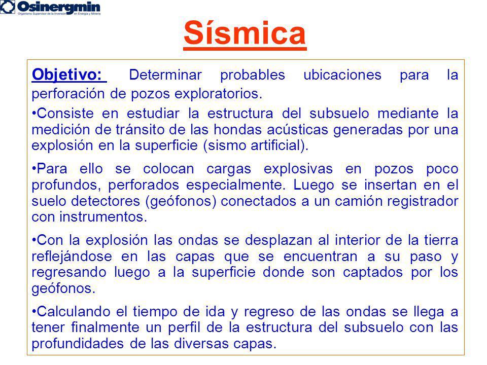 Objetivo: Determinar probables ubicaciones para la perforación de pozos exploratorios. Consiste en estudiar la estructura del subsuelo mediante la med