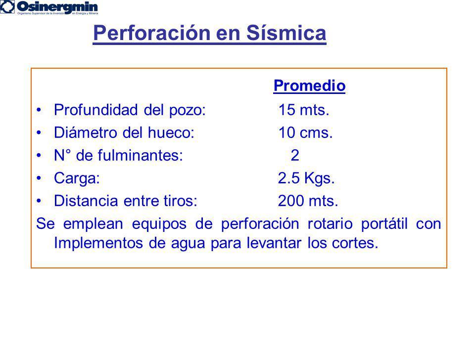 Promedio Profundidad del pozo: 15 mts. Diámetro del hueco: 10 cms. N° de fulminantes: 2 Carga: 2.5 Kgs. Distancia entre tiros: 200 mts. Se emplean equ