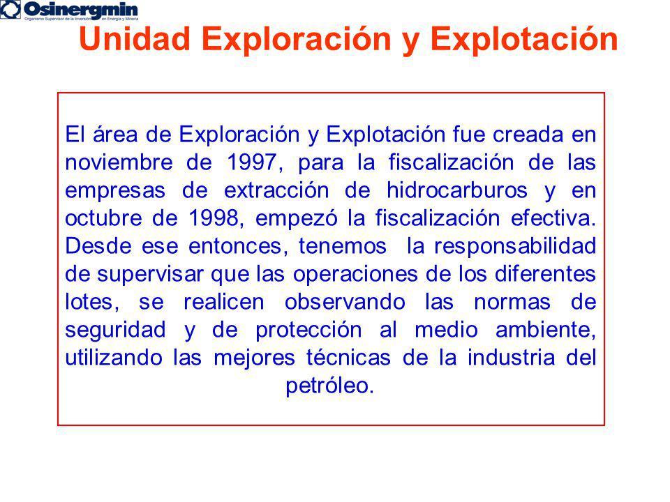 El área de Exploración y Explotación fue creada en noviembre de 1997, para la fiscalización de las empresas de extracción de hidrocarburos y en octubr