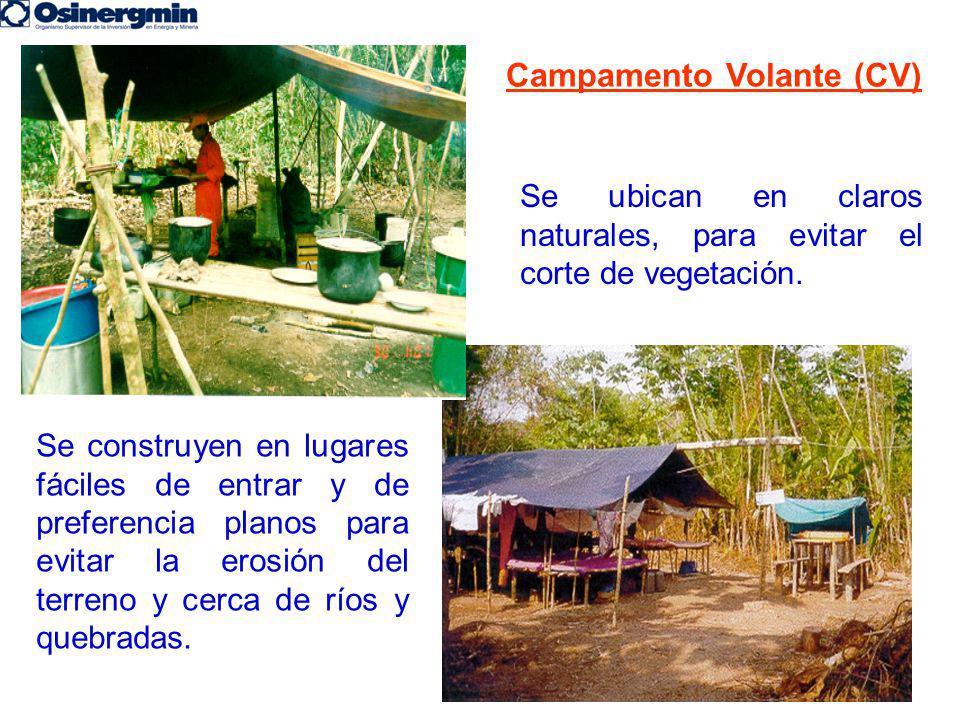 Campamento Volante (CV) Se construyen en lugares fáciles de entrar y de preferencia planos para evitar la erosión del terreno y cerca de ríos y quebra