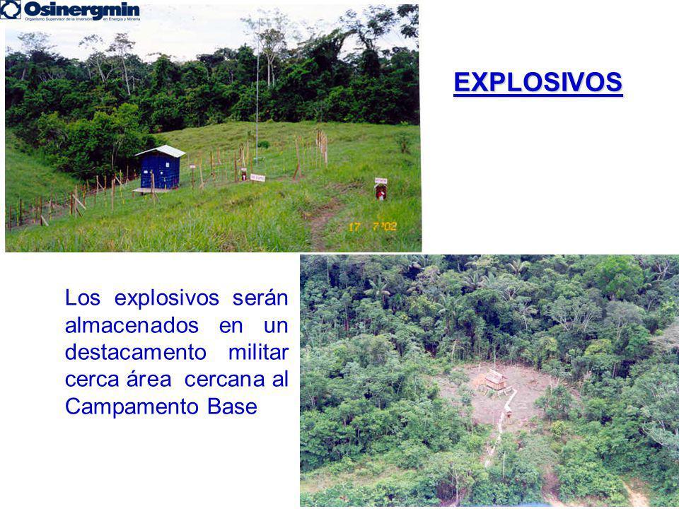 EXPLOSIVOS Los explosivos serán almacenados en un destacamento militar cerca área cercana al Campamento Base