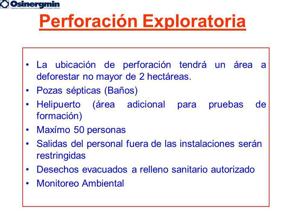 Perforación Exploratoria La ubicación de perforación tendrá un área a deforestar no mayor de 2 hectáreas. Pozas sépticas (Baños) Helipuerto (área adic