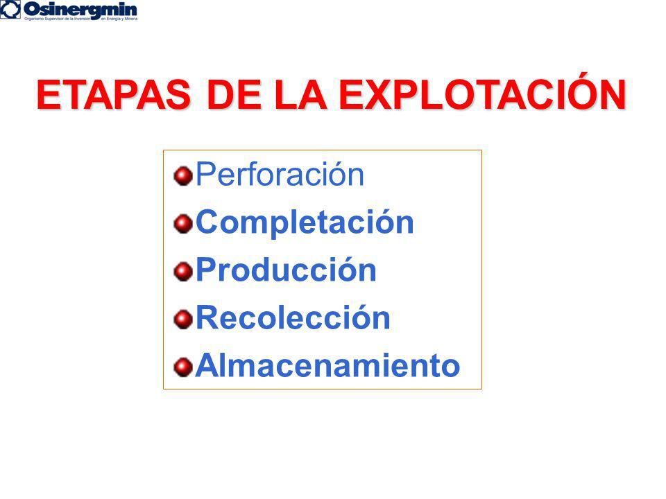 ETAPAS DE LA EXPLOTACIÓN Perforación Completación Producción Recolección Almacenamiento