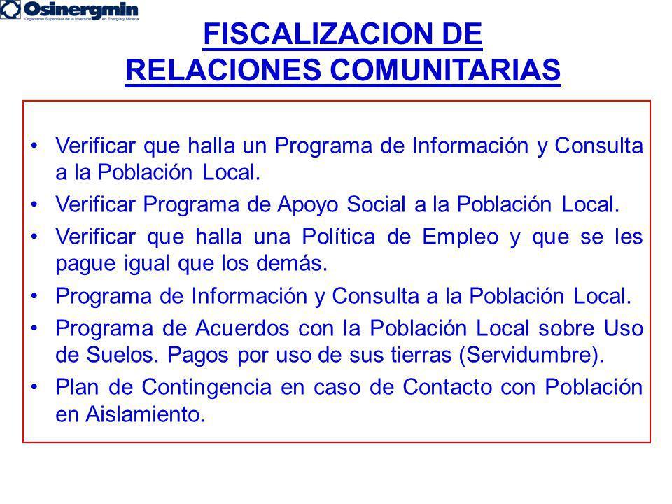 FISCALIZACION DE RELACIONES COMUNITARIAS Verificar que halla un Programa de Información y Consulta a la Población Local. Verificar Programa de Apoyo S