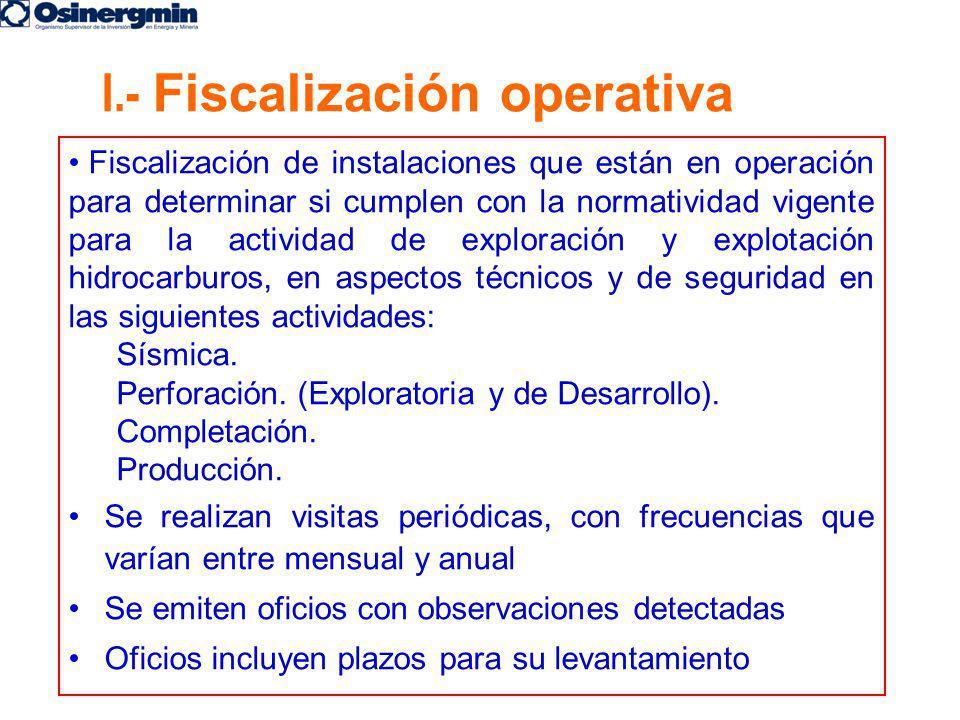 Fiscalización de instalaciones que están en operación para determinar si cumplen con la normatividad vigente para la actividad de exploración y explot