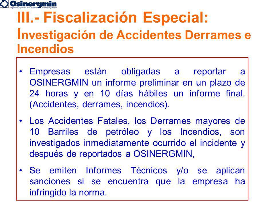 Empresas están obligadas a reportar a OSINERGMIN un informe preliminar en un plazo de 24 horas y en 10 días hábiles un informe final. (Accidentes, der