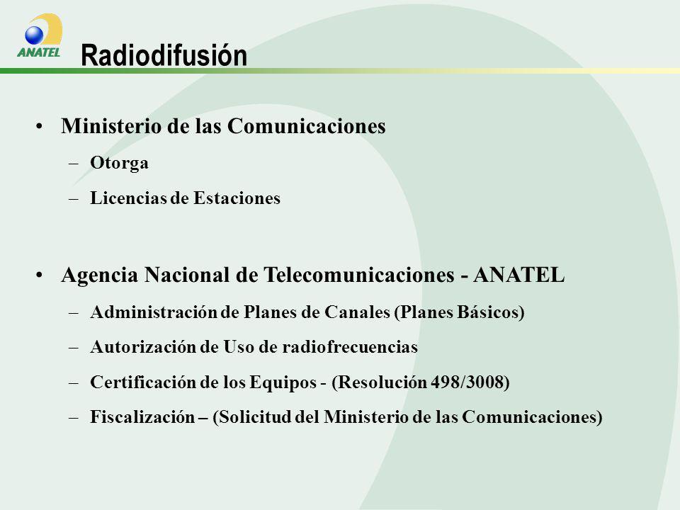Ministerio de las Comunicaciones –Otorga –Licencias de Estaciones Agencia Nacional de Telecomunicaciones - ANATEL –Administración de Planes de Canales (Planes Básicos) –Autorización de Uso de radiofrecuencias –Certificación de los Equipos - (Resolución 498/3008) –Fiscalización – (Solicitud del Ministerio de las Comunicaciones) Radiodifusión