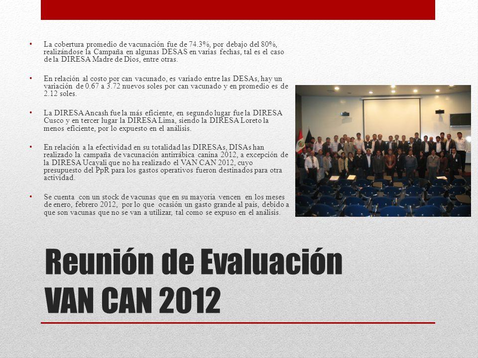 Reunión de Evaluación VAN CAN 2012 La cobertura promedio de vacunación fue de 74.3%, por debajo del 80%, realizándose la Campaña en algunas DESAS en v