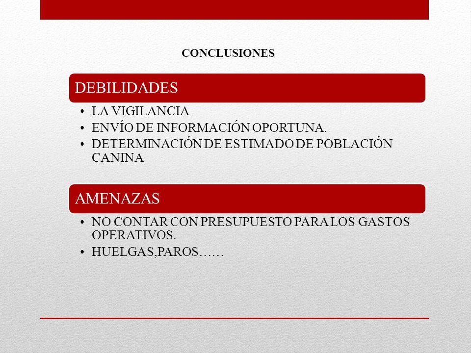 DEBILIDADES LA VIGILANCIA ENVÍO DE INFORMACIÓN OPORTUNA.