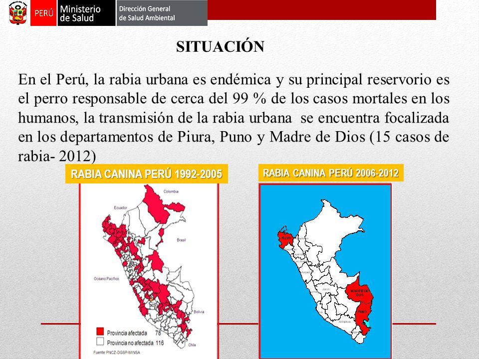 En el Perú, la rabia urbana es endémica y su principal reservorio es el perro responsable de cerca del 99 % de los casos mortales en los humanos, la transmisión de la rabia urbana se encuentra focalizada en los departamentos de Piura, Puno y Madre de Dios (15 casos de rabia- 2012) SITUACIÓN RABIA CANINA PERÚ 2006-2012 RABIA CANINA PERÚ 1992-2005