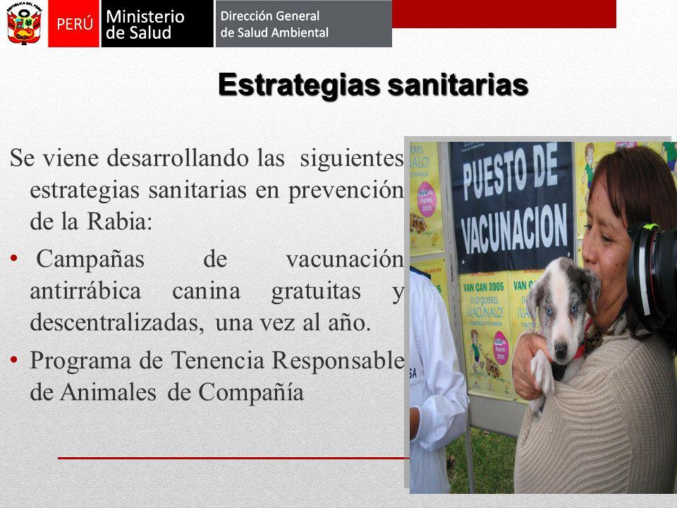 Se viene desarrollando las siguientes estrategias sanitarias en prevención de la Rabia: Campañas de vacunación antirrábica canina gratuitas y descentr