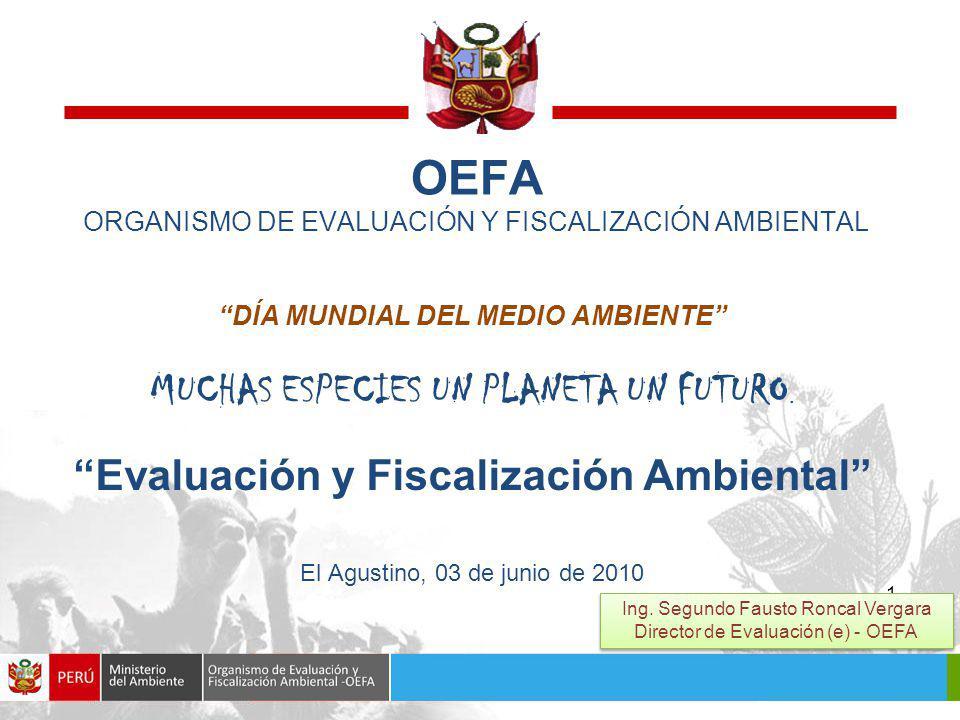 1 OEFA ORGANISMO DE EVALUACIÓN Y FISCALIZACIÓN AMBIENTAL DÍA MUNDIAL DEL MEDIO AMBIENTE MUCHAS ESPECIES UN PLANETA UN FUTURO.