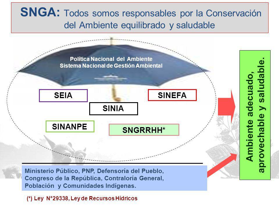 SNGA: Todos somos responsables por la Conservación del Ambiente equilibrado y saludable Ambiente adecuado, aprovechable y saludable.