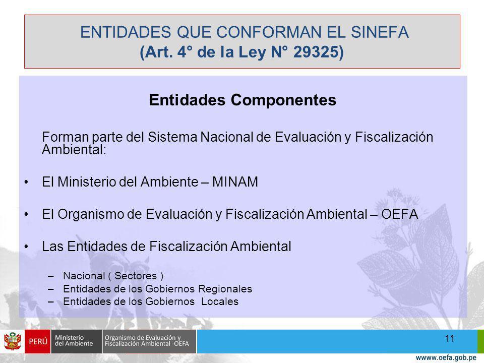 ENTIDADES QUE CONFORMAN EL SINEFA (Art.