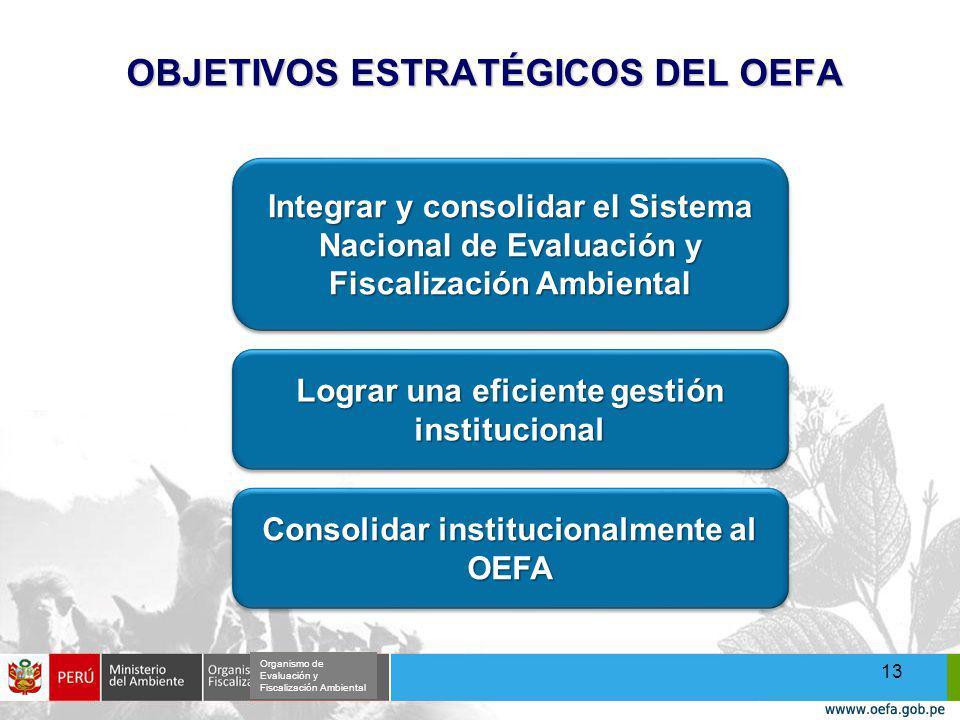 OBJETIVOS ESTRATÉGICOS DEL OEFA 13 Integrar y consolidar el Sistema Nacional de Evaluación y Fiscalización Ambiental Lograr una eficiente gestión institucional Consolidar institucionalmente al OEFA Organismo de Evaluación y Fiscalización Ambiental
