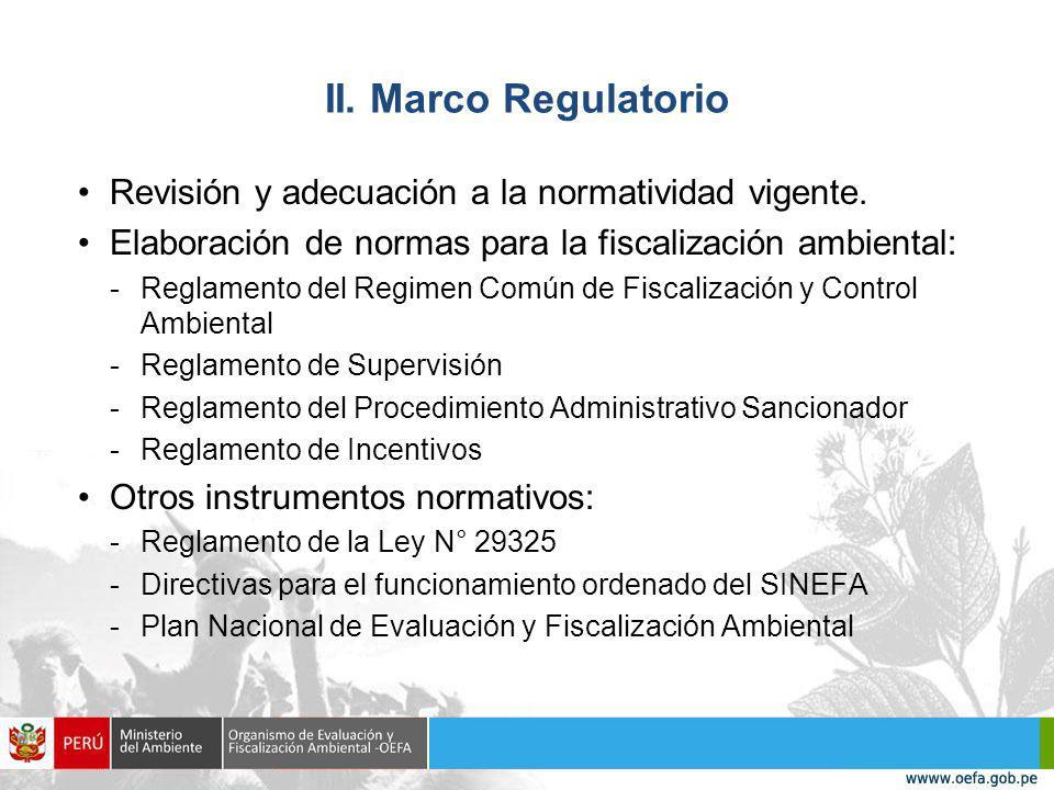 II.Marco Regulatorio Revisión y adecuación a la normatividad vigente.