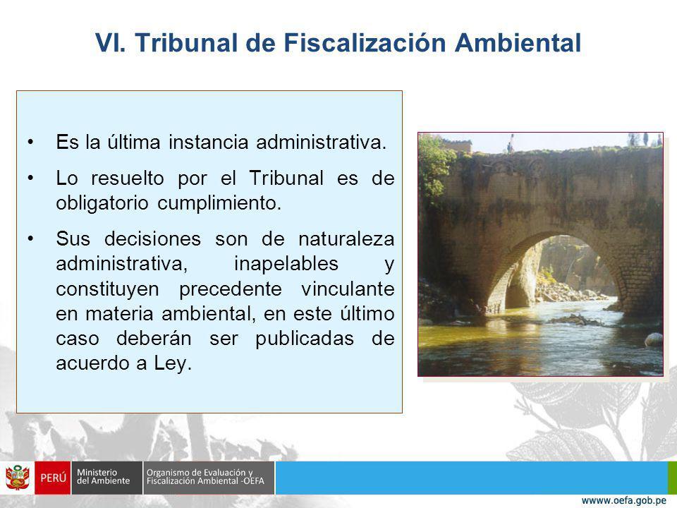 VI.Tribunal de Fiscalización Ambiental Es la última instancia administrativa.