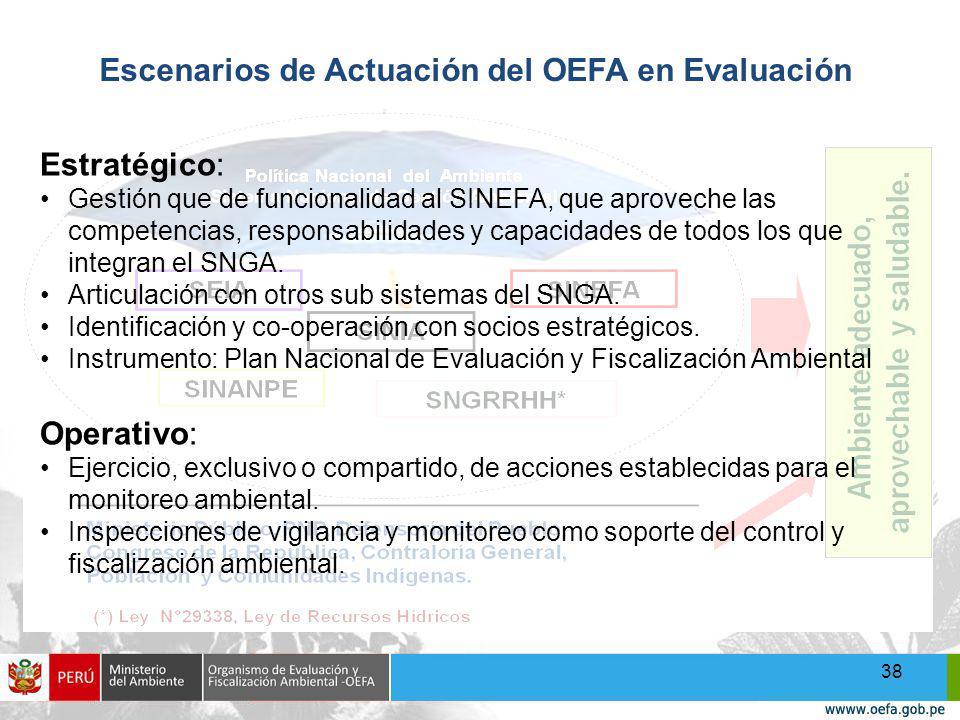 38 Escenarios de Actuación del OEFA en Evaluación Estratégico: Gestión que de funcionalidad al SINEFA, que aproveche las competencias, responsabilidades y capacidades de todos los que integran el SNGA.