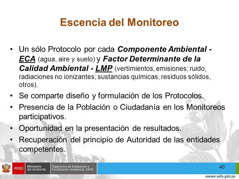 Escencia del Monitoreo Un sólo Protocolo por cada Componente Ambiental - ECA (agua, aire y suelo) y Factor Determinante de la Calidad Ambiental - LMP (vertimientos, emisiones; ruido, radiaciones no ionizantes; sustancias químicas, residuos sólidos, otros).