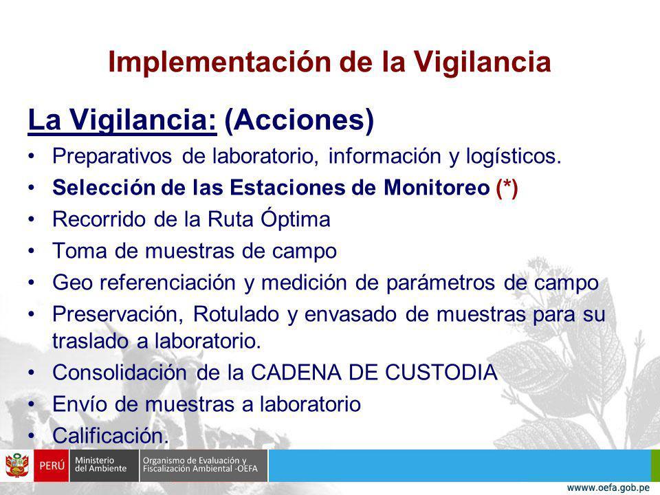 Implementación de la Vigilancia La Vigilancia: (Acciones) Preparativos de laboratorio, información y logísticos.