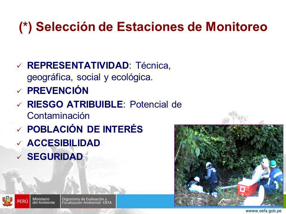 (*) Selección de Estaciones de Monitoreo REPRESENTATIVIDAD: Técnica, geográfica, social y ecológica.