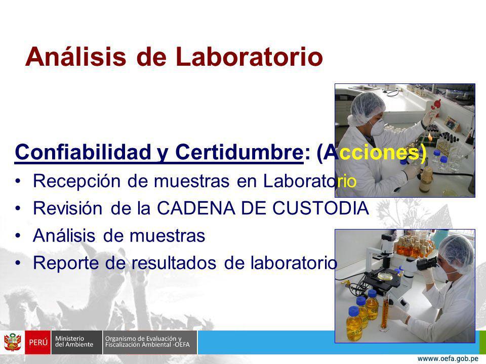 Análisis de Laboratorio Confiabilidad y Certidumbre: (Acciones) Recepción de muestras en Laboratorio Revisión de la CADENA DE CUSTODIA Análisis de muestras Reporte de resultados de laboratorio